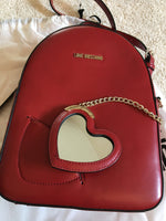 Love Moschino Red Leather Backpack with Golden Chain and Black Leather Heart with Mirror