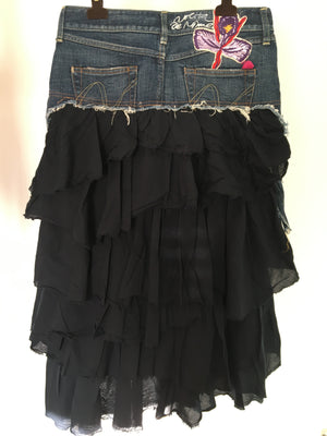 Nolita Denim Skirt with fabric Ruffles Size 38 (EU) 42 (IT)