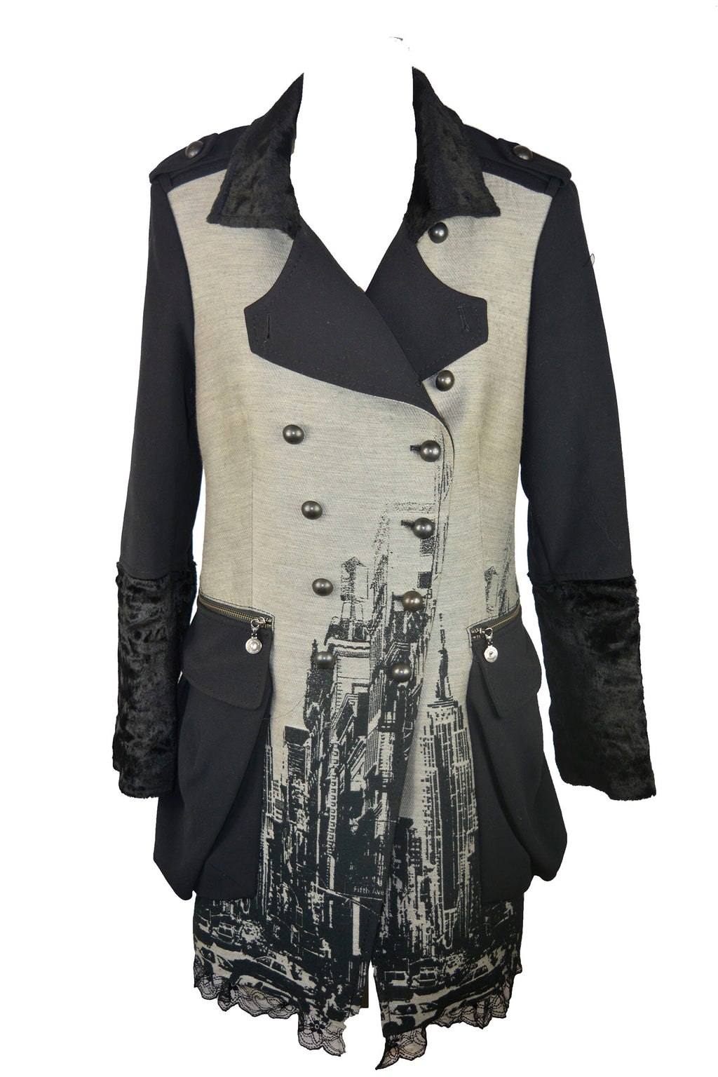 Ana Sousa Military Coat with City Pattern and Lace Details Size 42 (EU)