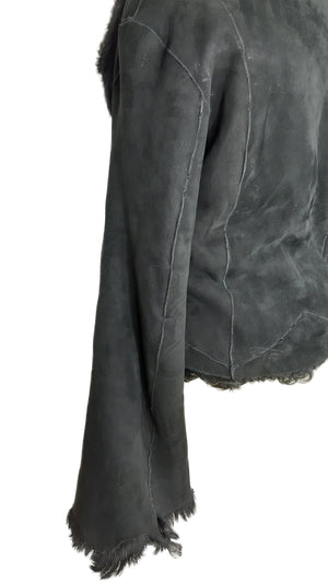 Luigi de Franchis Black Fur and Suede Jacket Fits M