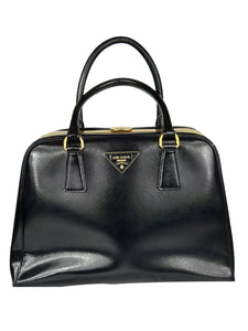 Prada Saffiano Vernice Pyramid Frame Bag in Black