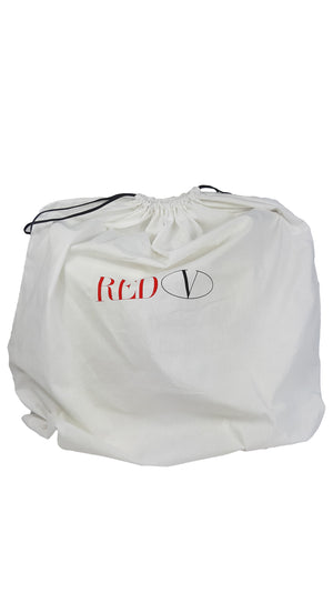 Red Valentino Soft Leather Cream Tote Bag with Pink Lips