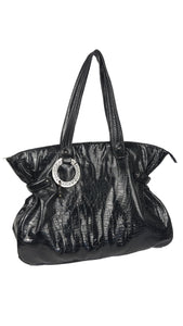 Roccobarocco Black Maxi Bag in Soft Patent Leather and Golden Monogram Interior