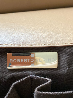 Roberto Verini Beige Shoulder Bag with Golden Studs
