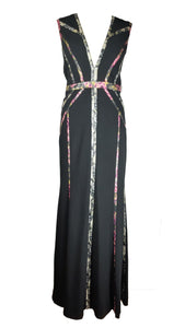 BCBG MAXAZRIA Long Black Dress with Colour Stripes details Size 12 (USA) 44 (EU)