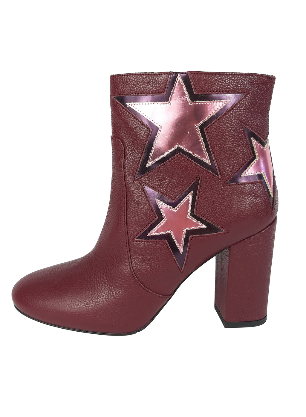 Pinko Bordeaux Leather ankle boots  with silver pink stars Size 37 (EU)