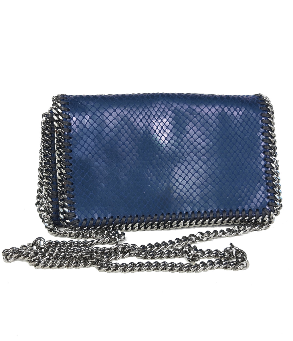 Stella McCartney Blue Vegan Snakeskin Mini Falabella Crossbody Bag with Ruthenium Hardware