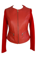 Trussardi Red Jacket in Leather and Fabric Size 42 (EU)