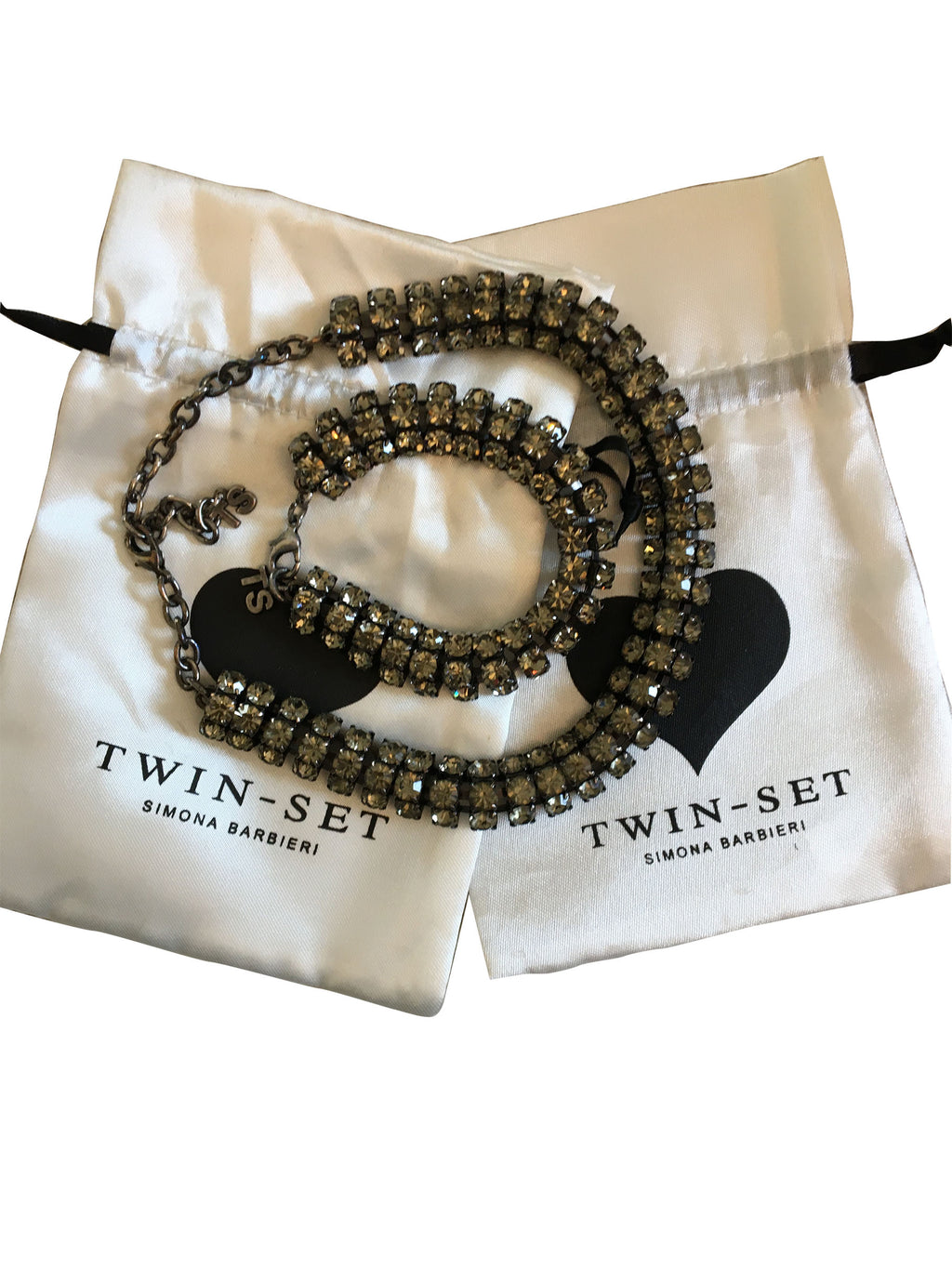 Twin-Set Necklace and Bracelet Rhinestone Set with Adjustable Size