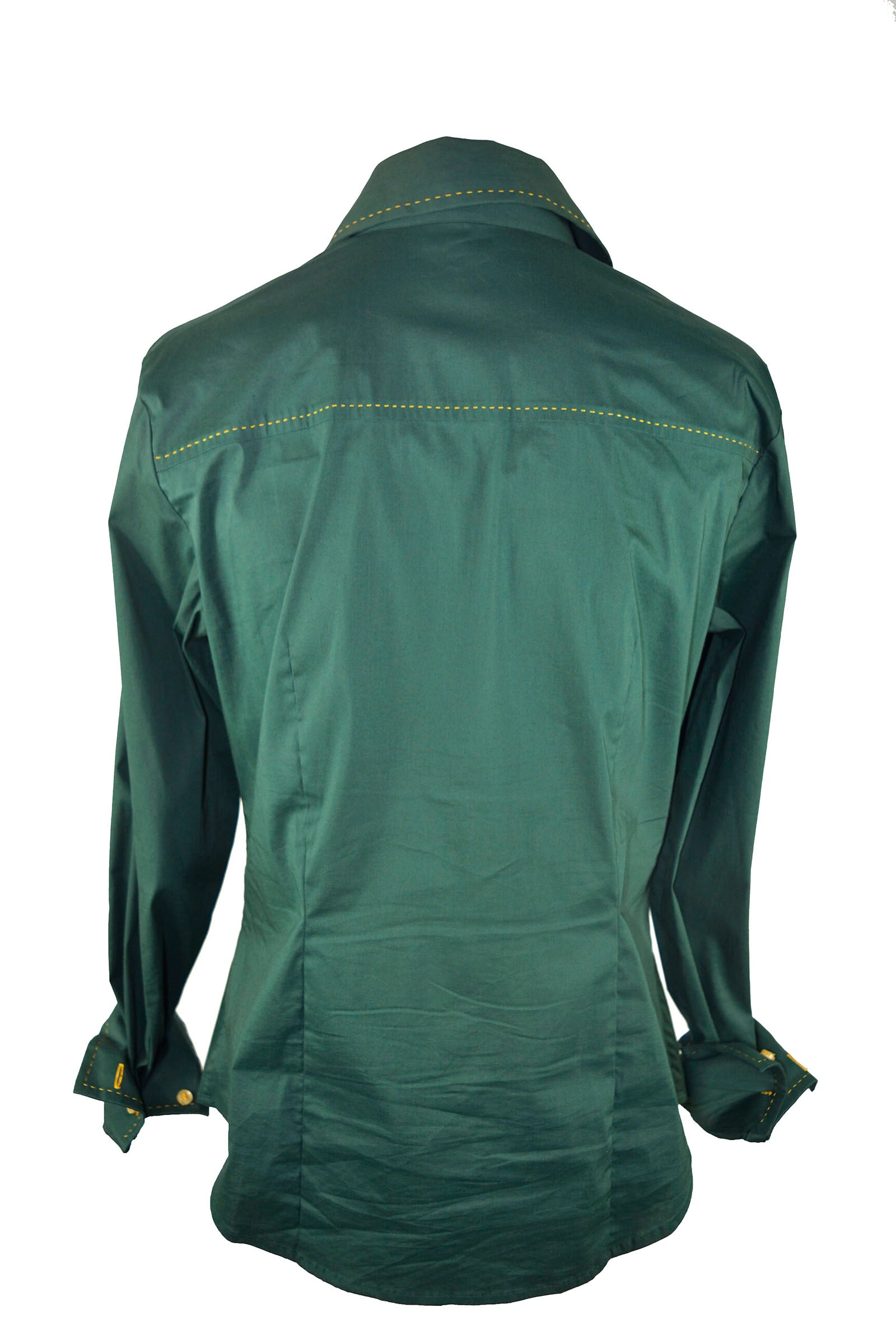 Burberry Dark Green Shirt with Yellow Stitches Size 40 (EU)