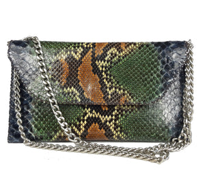 Exotic Python Leather Envelope Clutch Bag in Brown, Green, Beige and Black