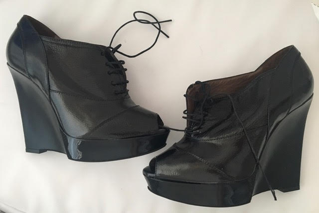 Marni Black Leather Lace Up Heels with Open Toe Line and Platform Size 37 (EU)