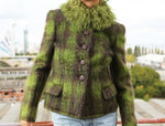 Valentino Boutique Green Coat with Fur Collar in Size 38/40 (EU)