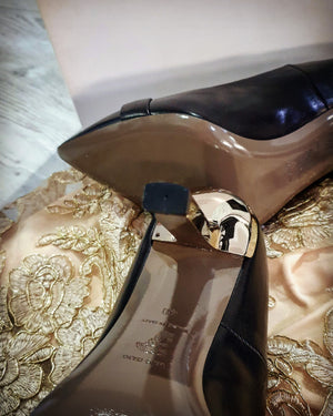 Versace Collection Black Pumps with Golden Medusa Buckle Size 40 (EU)