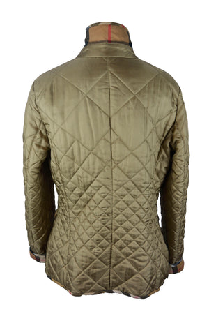 Burberry  Quilted Jacket in Beige, Check Lining and Details, and Frontal Pockets Size 44 (EU)
