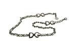 Dolce & Gabbana Adjustable Chain Belt in White and Silver