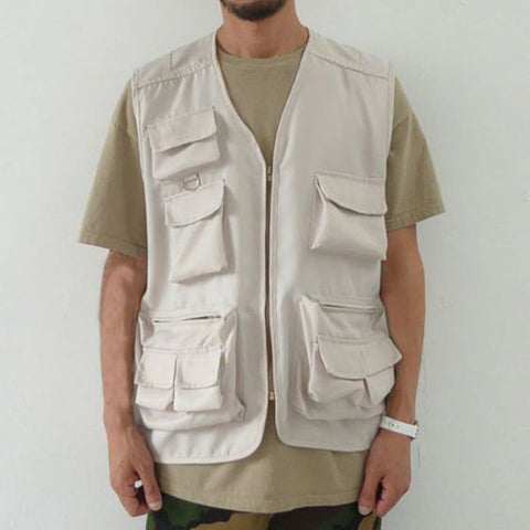 Men's Casual Solid Color Multi-Pocket Vest