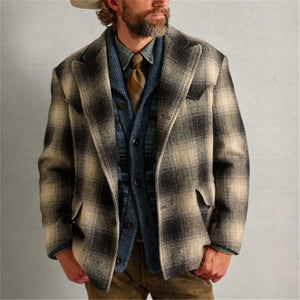 Men's Stylish Casual Vintage Plaid Blazer