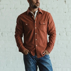 Brief red single breasted long sleeves shirt
