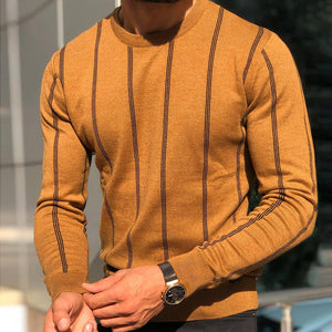 Temperament Round Neck Wide Striped Long Sleeve Knit Sweater