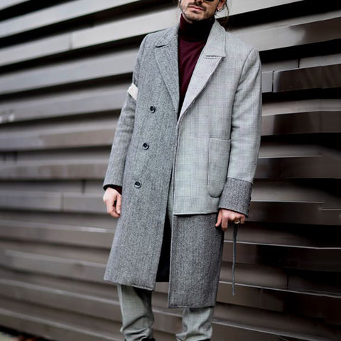 Fashion Asymmetry Patchwork Button Men's Overcoat