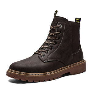 Men's casual solid color stitching lace Martin boots
