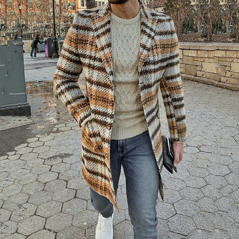 Men's Fashion Single-breasted Long Sleeve Knit Cardigan Coat