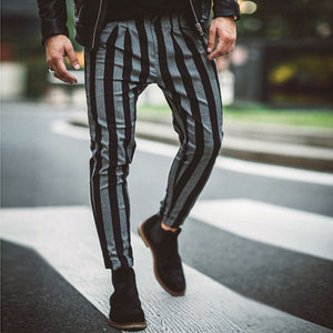 Men's Fashion Casual Striped Trousers