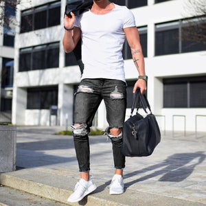 Men's Black Hole Denim Pants