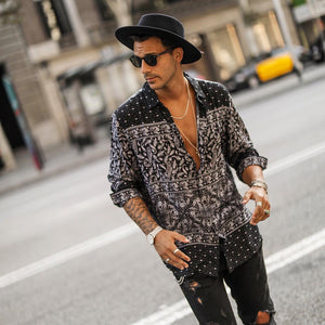 Men's Casual Printing Halflong Sleeve Blouse