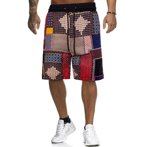 Men's Fashion Comfortable Colorblock Printed Casual Shorts