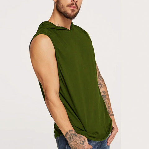 Men's Thin Section Loose Solid Color Hooded Casual Vest