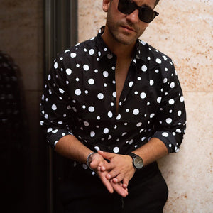 Men's Fashion Polka Dot Lapel Long Sleeve Shirt