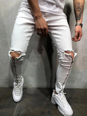 Fashion Broken Hole Zipper Design Elastic Slim Fit Pants
