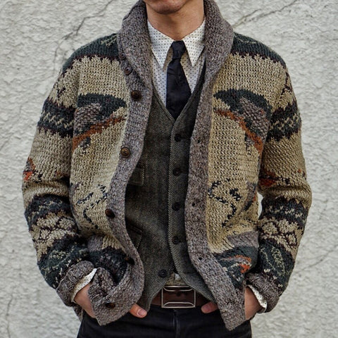 National Style Men'S Lapel Long-Sleeved Knitted Cardigan