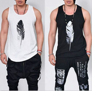 Men's Casual Feather Print Vest