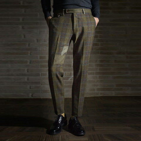 Business Style Check Slim Fit Men's Pants