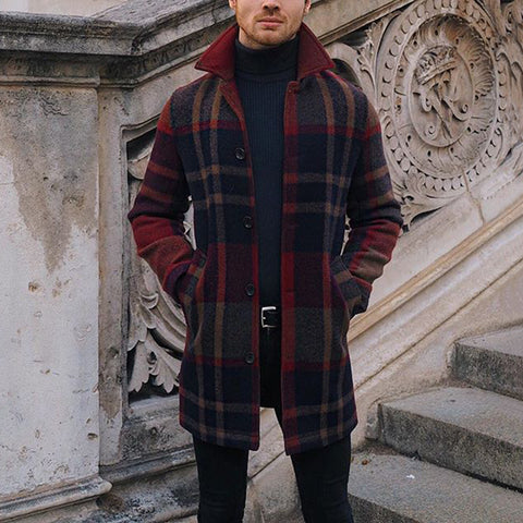 Men's Vintage Check Single-breasted Long Sleeve Overcoat