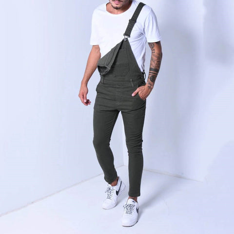 Fashion men's sling denim jumpsuit