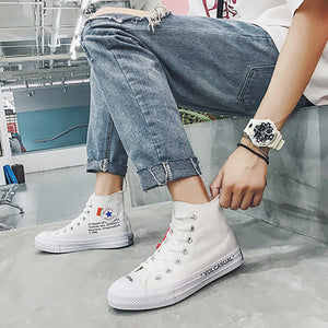 Fashion Solid Color Letters High-top Canvas Casual Shoes