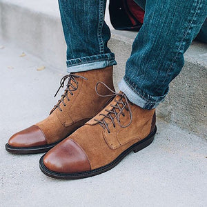 Brief Men Patchwork Round Toe Lace-up Boots