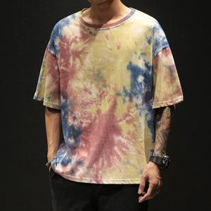 Men's Casual Round Neck Short Sleeve Tie-Dyed T-Shirt