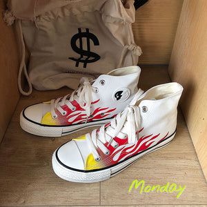 Trend print high canvas shoes