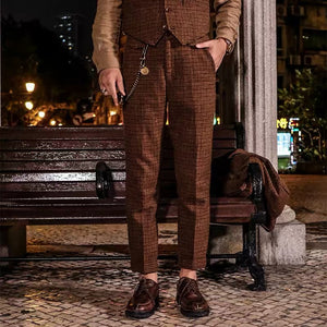 Mens classic retro slim plaid trousers