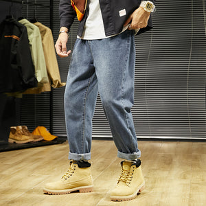 Autumn and winter new  men's jeans youth old pants trend casual harem pants loose straight K07