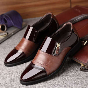 Men's pointed business casual zipper shoes