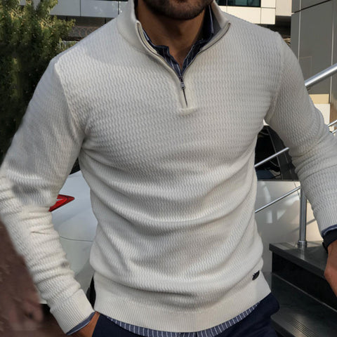 Fashion Zip Stand Collar Solid Color Slim Men's Knit Sweater