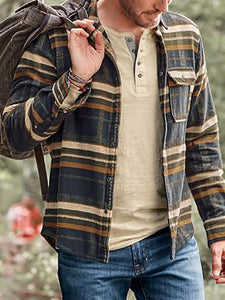 Men's Check Pocket Casual Jacket