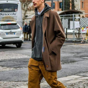 Men's Fashion Street Lapel Short Lapel Overcoat