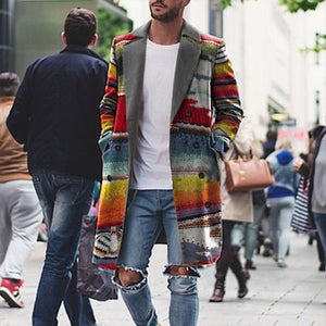 Business Rainbow Print Lapel Jacket